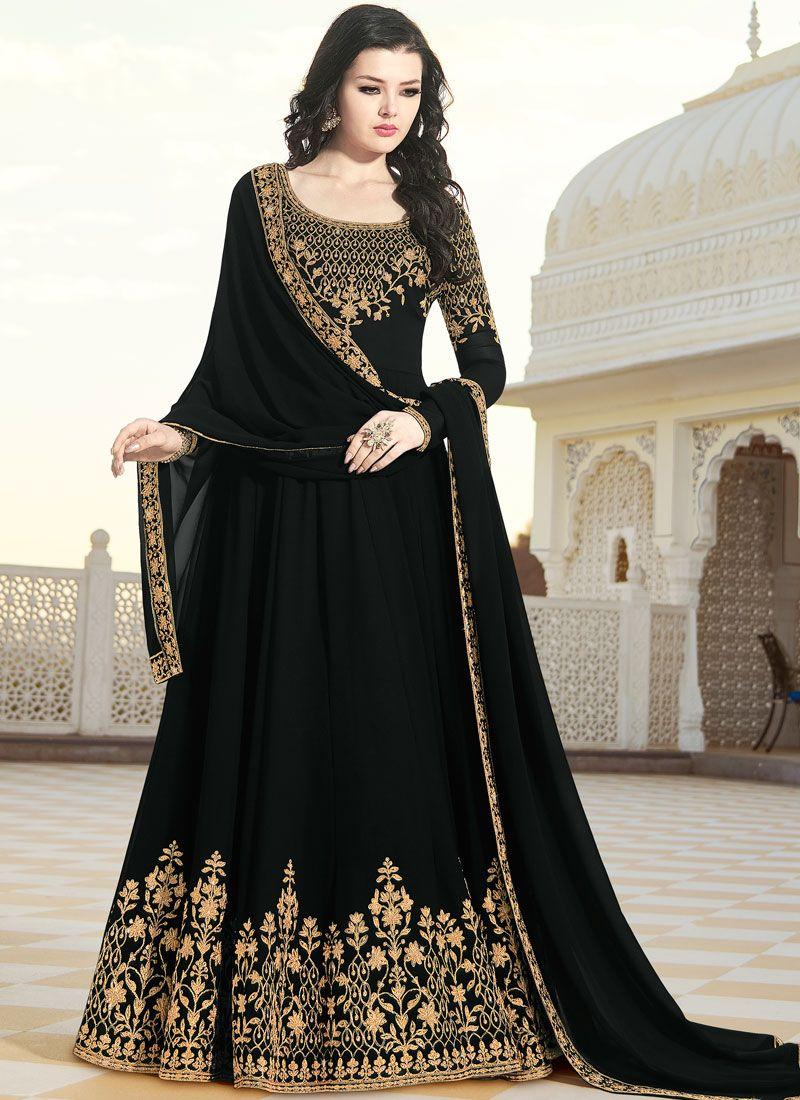 Faux Georgette Patch Border Black Floor Length Anarkali Suit