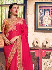 Faux Georgette Patch Border Classic Designer Saree in Red