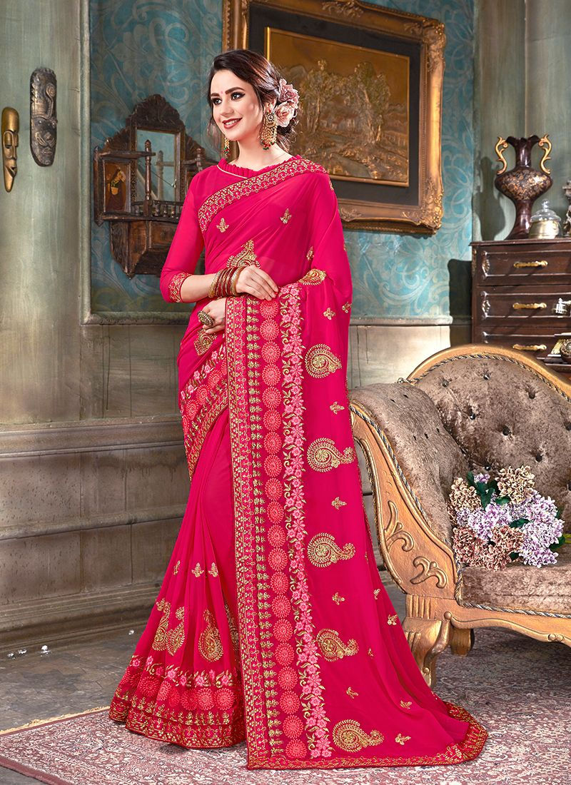 Faux Georgette Patch Border Hot Pink Trendy Saree