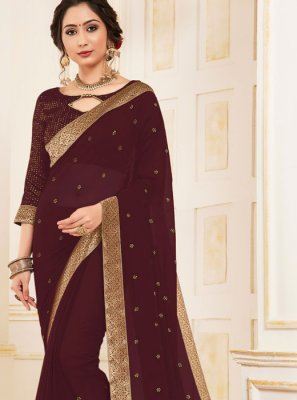 Faux Georgette Patch Border Maroon Trendy Saree