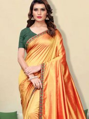 Faux Georgette Patch Border Orange Classic Designer Saree