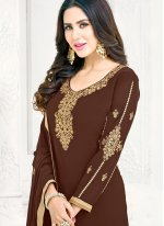 Faux Georgette Patch Border Pant Style Suit in Brown