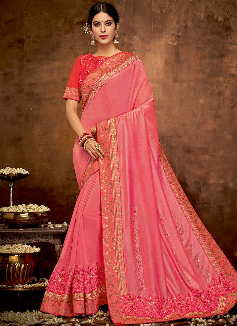 Faux Georgette Patch Border Pink Classic Designer Saree