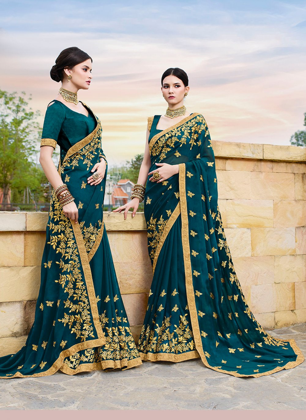 Faux Georgette Patch Border Teal Traditional Designer Saree