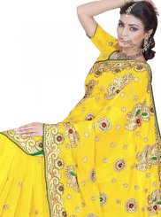 Faux Georgette Patch Border Yellow Classic Saree