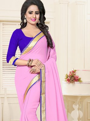 Faux Georgette Pink Casual Saree