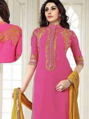 Faux Georgette Pink Churidar Salwar Suit