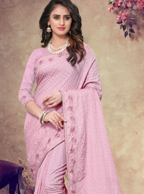 Faux Georgette Pink Classic Saree