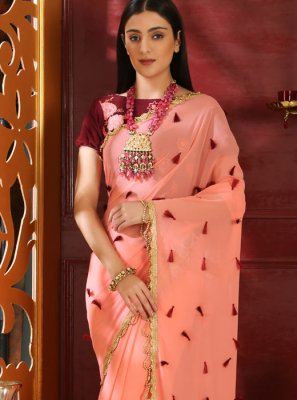 Faux Georgette Pink Embroidered Classic Designer Saree