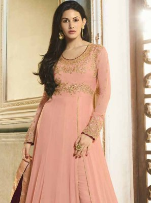 Faux Georgette Pink Embroidered Floor Length Anarkali Suit