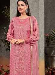 Faux Georgette Pink Embroidered Palazzo Salwar Kameez
