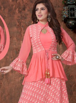 Faux Georgette Pink Embroidered Readymade Lehenga Choli
