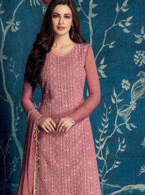 Faux Georgette Pink Palazzo Designer Salwar Suit
