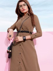 Faux Georgette Plain Brown Casual Kurti
