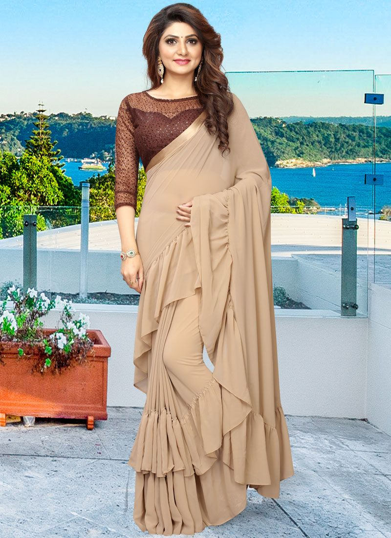 Faux Georgette Plain Casual Saree