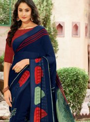 Faux Georgette Printed Blue Casual Saree