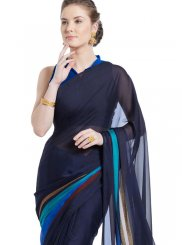 Faux Georgette Printed Casual Saree in Blue