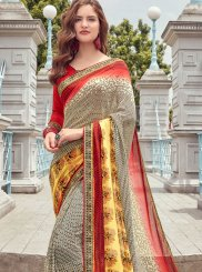 Faux Georgette Printed Casual Saree in Cream and Red