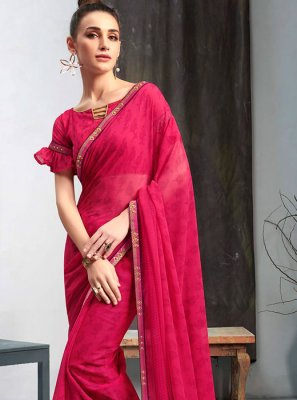 Faux Georgette Printed Casual Saree in Maroon
