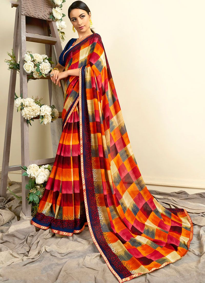 Faux Georgette Printed Casual Saree in Multi Colour