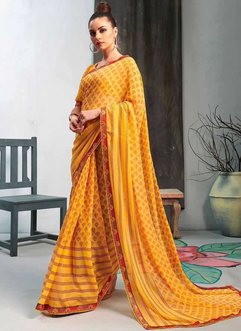 Faux Georgette Printed Casual Saree in Yellow