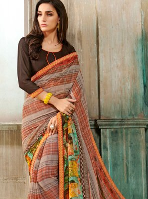 Faux Georgette Printed Multi Colour Casual Saree
