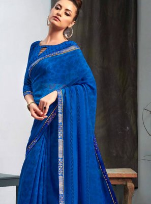 Faux Georgette Printed Navy Blue Casual Saree