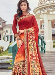Faux Georgette Printed Orange and Red Casual Saree