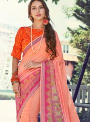 Faux Georgette Printed Peach Trendy Saree
