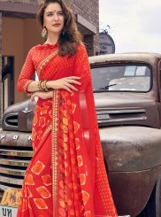 Faux Georgette Printed Red Casual Saree