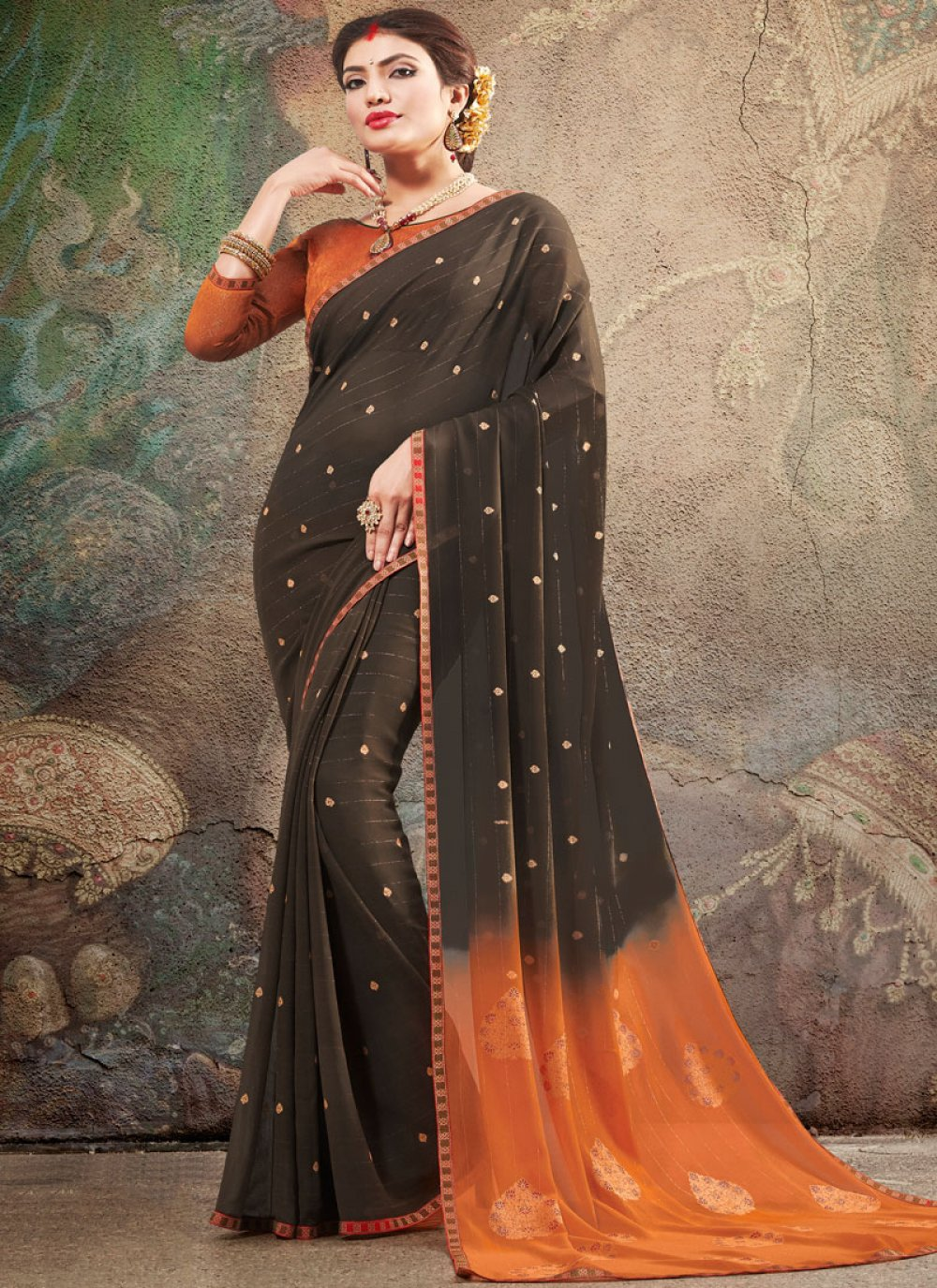 Faux Georgette Printed Saree in Black
