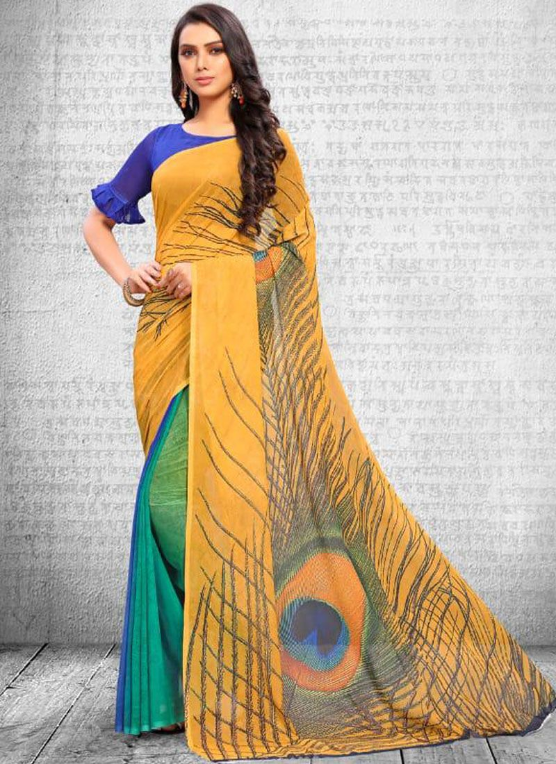 Faux Georgette Printed Saree in Multi Colour