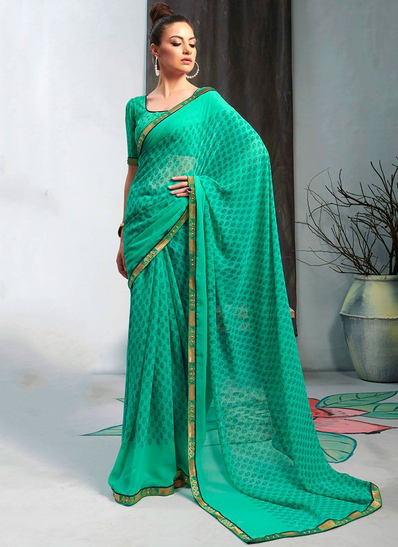 Faux Georgette Printed Sea Green Casual Saree