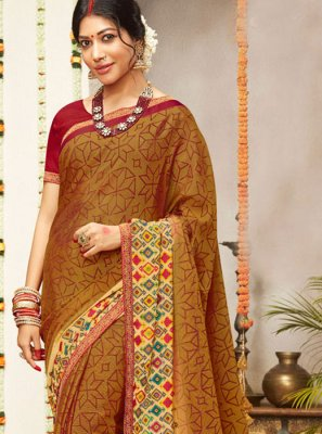 Faux Georgette Printed Trendy Saree