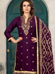 Faux Georgette Purple Churidar Designer Suit