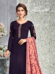 Faux Georgette Purple Designer Pakistani Suit