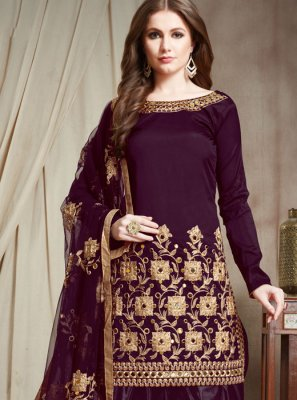Faux Georgette Purple Designer Patiala Suit