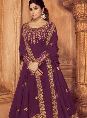 Faux Georgette Purple Embroidered Anarkali Salwar Kameez