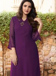 Faux Georgette Purple Embroidered Party Wear Kurti