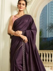Faux Georgette Purple Embroidered Saree