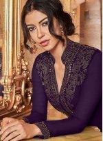 Faux Georgette Purple Palazzo Salwar Suit