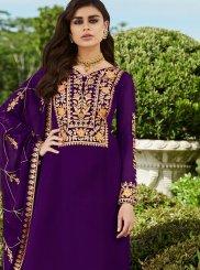 Faux Georgette Purple Resham Trendy Palazzo Salwar Kameez