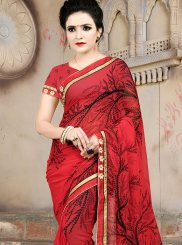 Faux Georgette Red Abstract Print Casual Saree