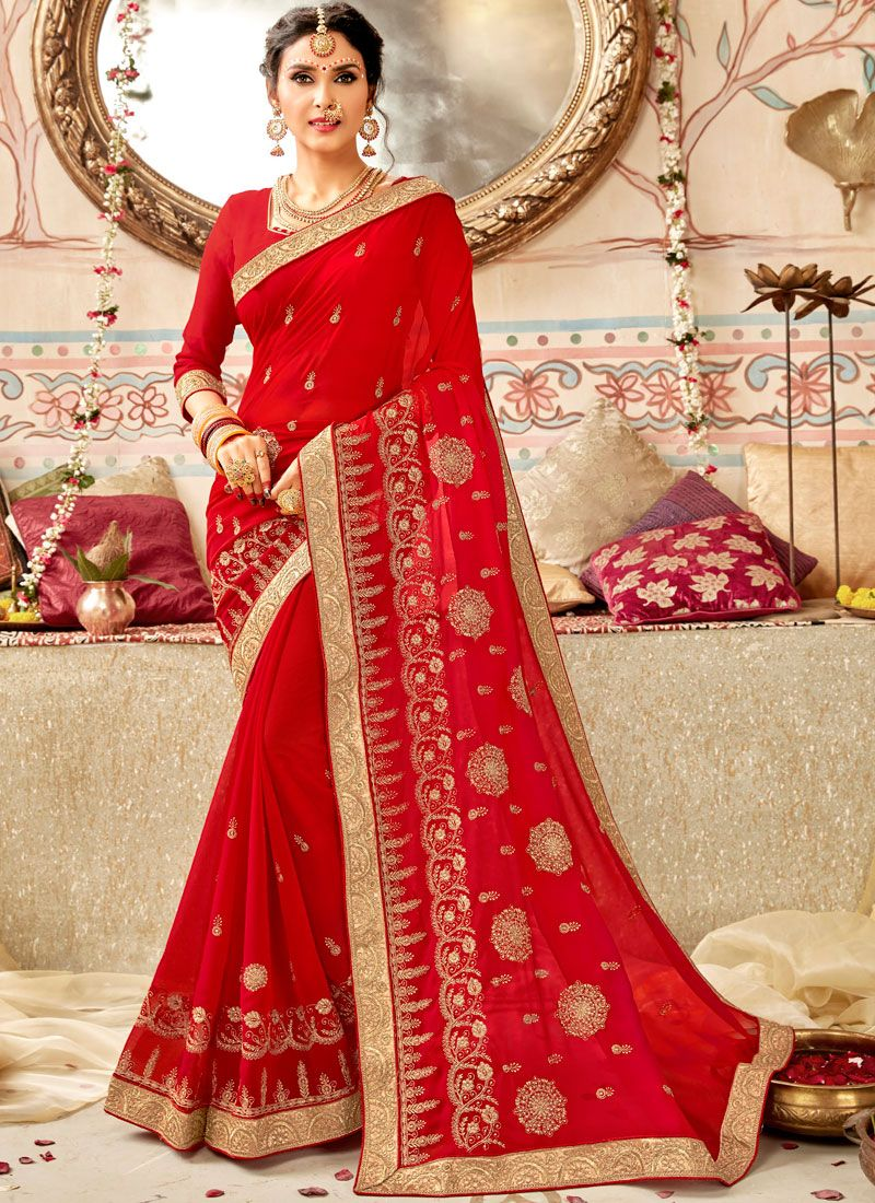 Faux Georgette Red Designer Traditional Saree