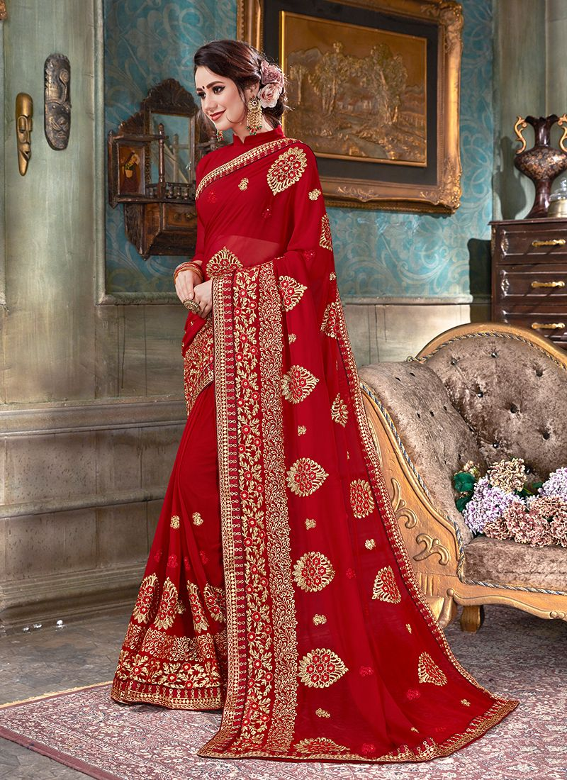 Faux Georgette Red Embroidered Classic Saree