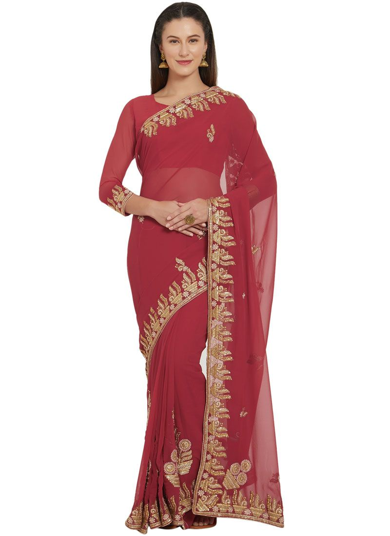 Faux Georgette Red Embroidered Saree