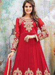 Faux Georgette Red Floor Length Anarkali Suit
