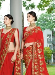 Faux Georgette Red Patch Border Classic Designer Saree