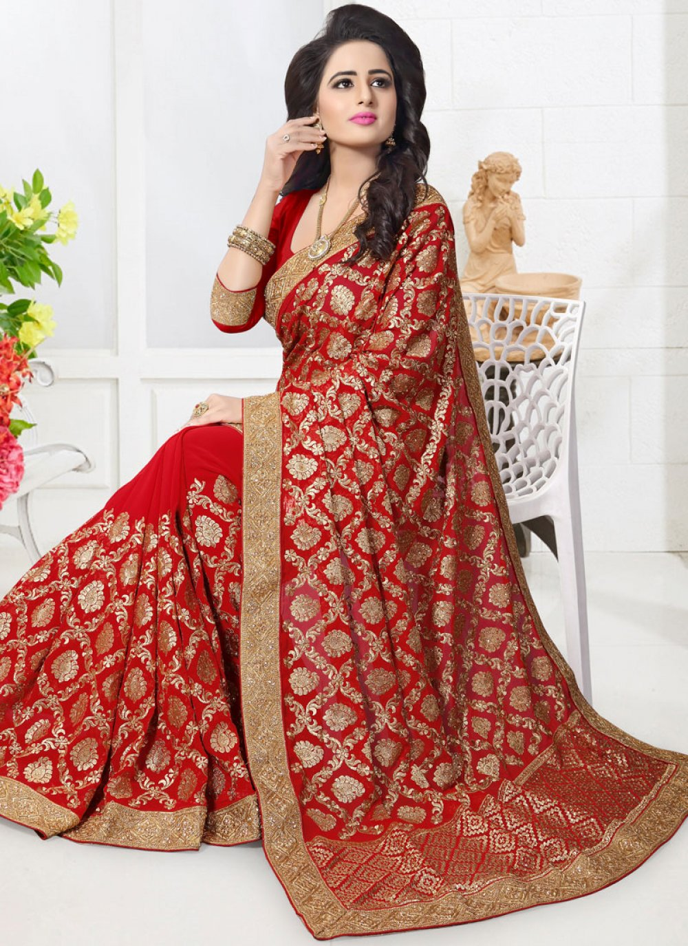 Faux Georgette Red Resham Work Classic Designer Saree