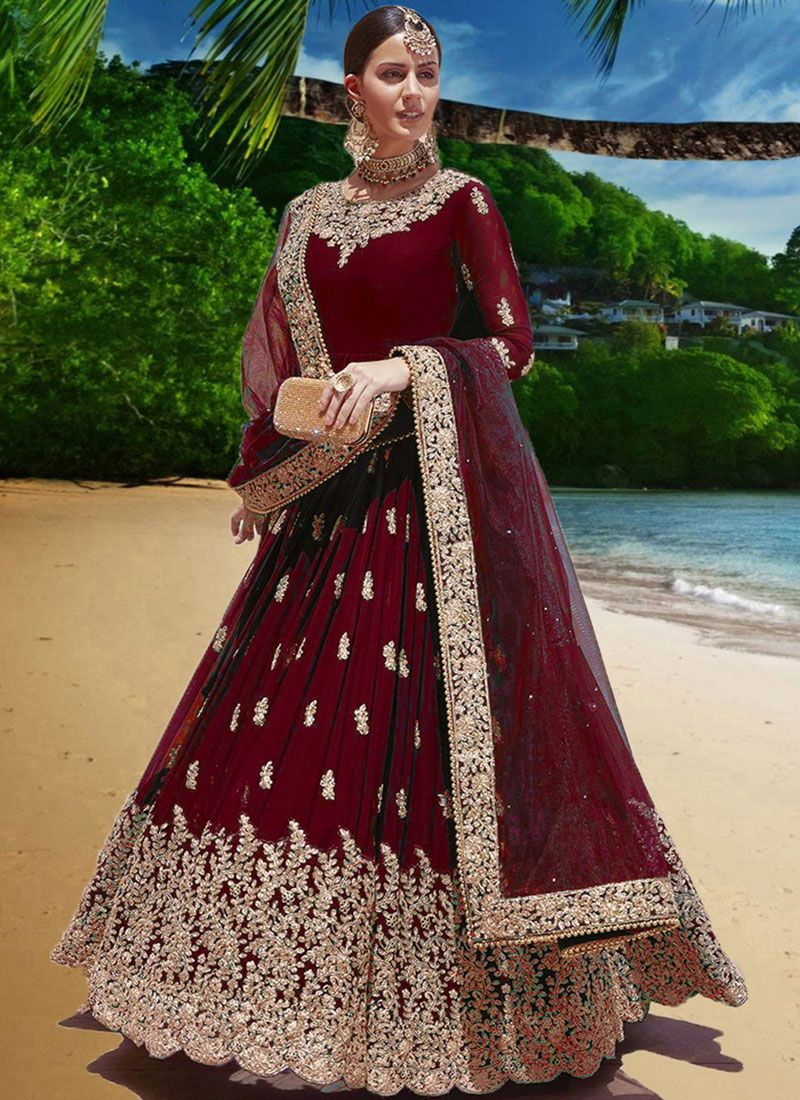 Faux Georgette Red Trendy Anarkali Salwar Suit
